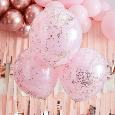 Picture of Ginger Ray® Confetti Balloons Double Stuffed Pink Rose Gold