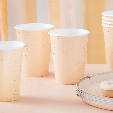 Picture of Ginger Ray® Cups Gold Polka Dot 8 pcs.