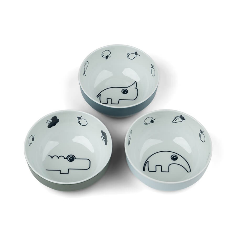 Picture of Done by Deer® Yummy mini bowl 3-pack Deer friends Blue