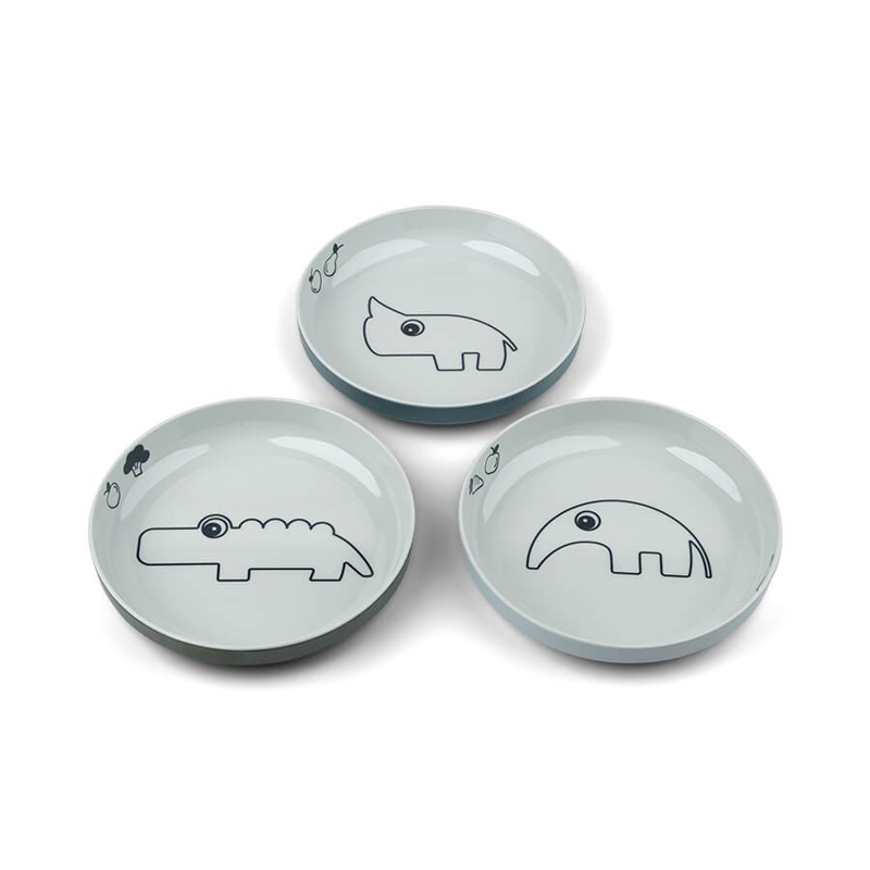 Picture of Done by Deer® Yummy mini plate 3-pack Deer friends Blue