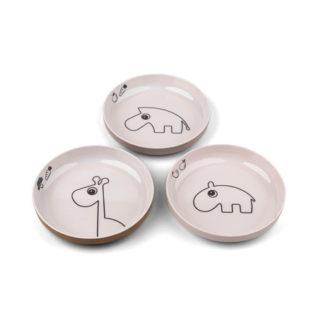 Picture of Done by Deer® Yummy mini plate 3-pack Deer friends Powder