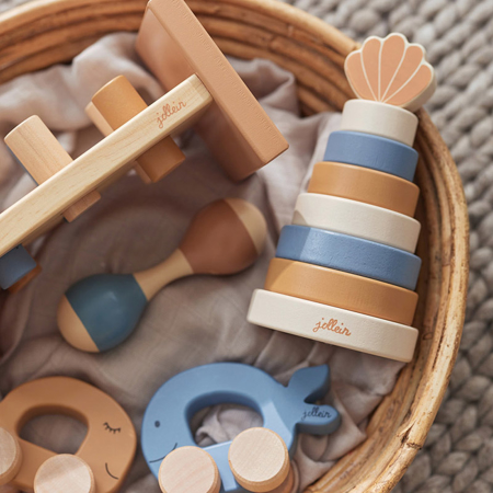 Picture of Jollein® Wooden Stacking Tower Shell Blue