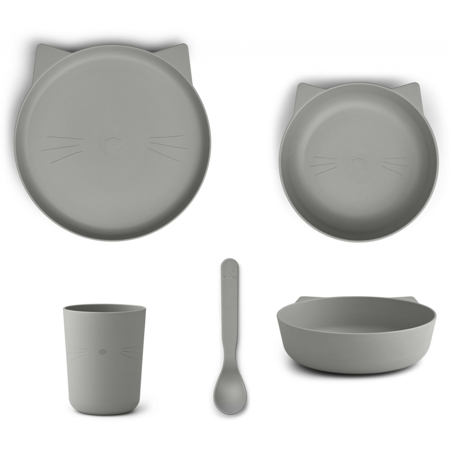 Liewood® Paul Silicone Tableware Cat Dove Blue