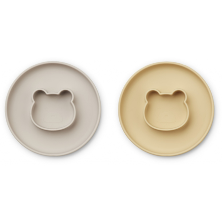 Picture of Liewood® Gordon Plate 2 Pack - Mr Bear Wheat Yellow/Sandy Mix