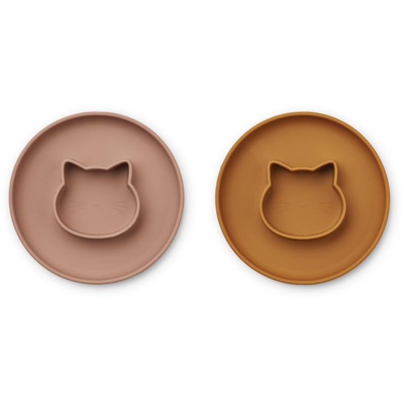 Picture of Liewood® Gordon Plate 2 Pack -  Cat dark rose/mustard Mix