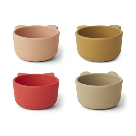 Liewood® Malene Silicone Bowl 4 Pack Apple Red/Tuscany Rose Multi Mix