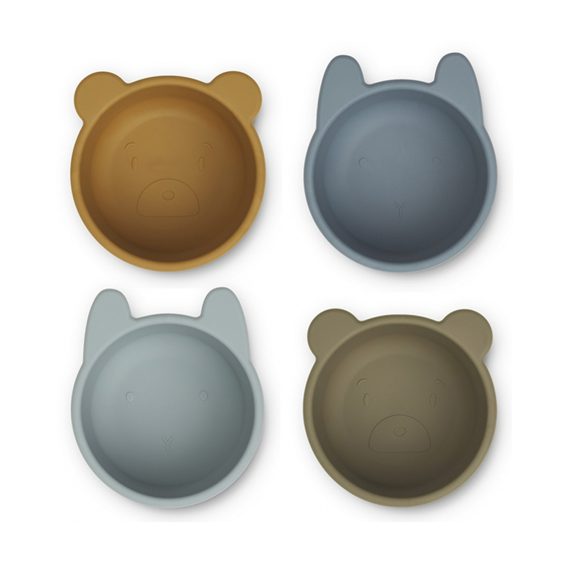 Picture of Liewood® Malene Silicone Bowl 4 Pack Golden Caramel/Blue Multi Mix