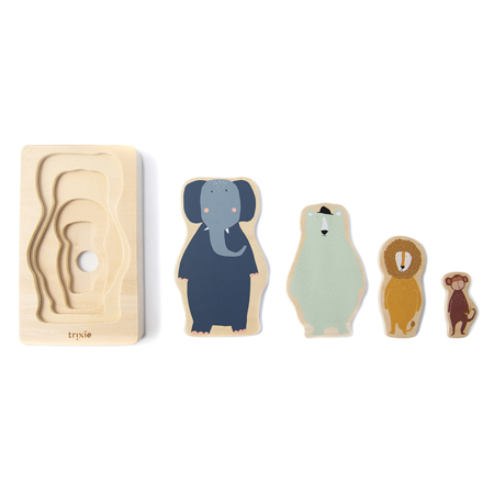 Picture of Trixie Baby® Wooden 4-layer animal puzzle