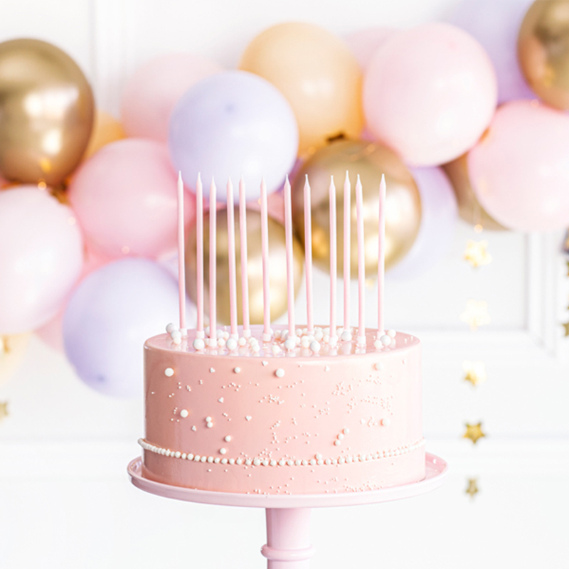 Picture of Party Deco Birthday Candles  14 cm Light Pink 12 pcs.