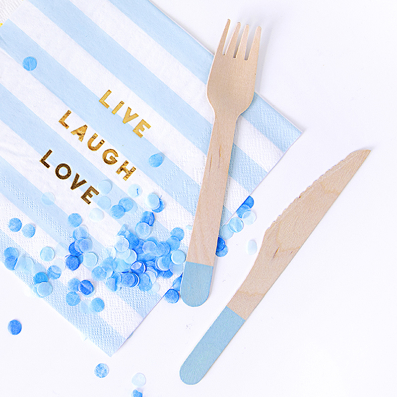 Picture of Party Deco Wooden Cutlery,  Light Blue 18 pcs