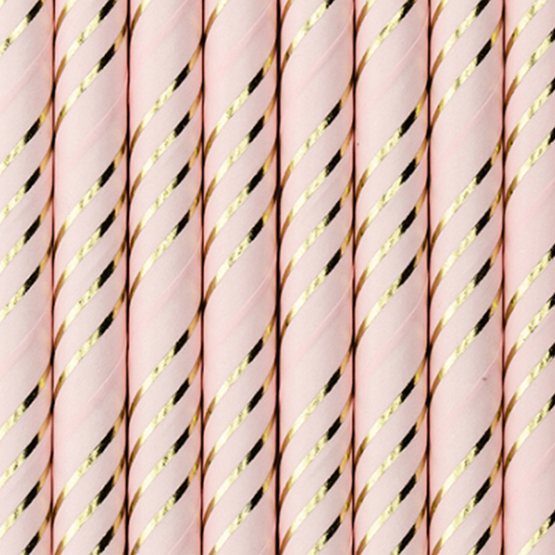 Picture of Party Deco® Paper Straws Light Pink Golden 10 pcs.