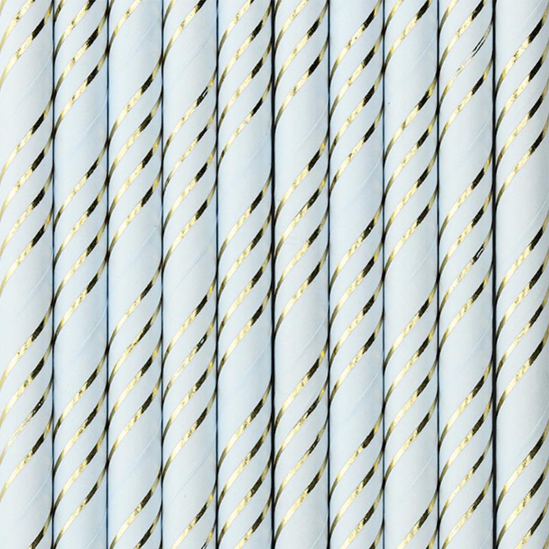Picture of Party Deco® Paper Straws Light Blue 10 pcs.