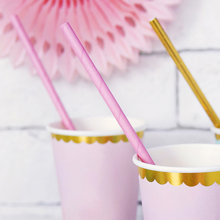 Picture of Party Deco® Paper Straws Light Pink 10 pcs.