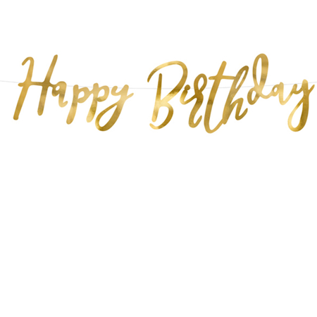 Picture of Party Deco® Banner Happy Birthday Gold