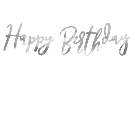 Picture of Party Deco® Banner Happy Birthday Silver