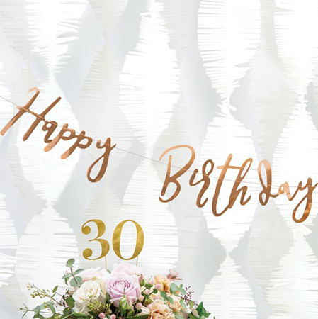 Picture of Party Deco® Banner Happy Birthday Rose Gold