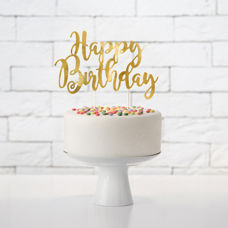 Picture of Party Deco® Cake Topper Happy Birthday Gold 22.5 cm