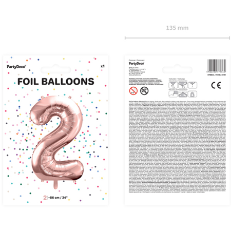 Picture of Party Deco® Party ballon number 2 Rose Gold