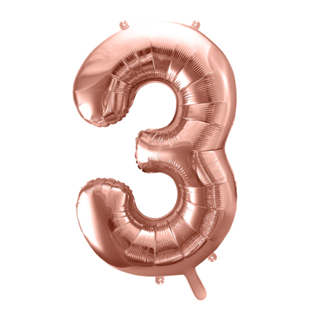 Picture of Party Deco® Party ballon number 3 Rose Gold