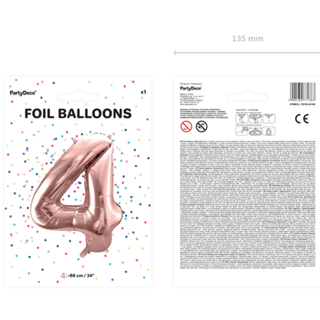 Picture of Party Deco® Party ballon number 4 Rose Gold