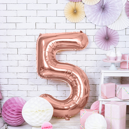 Picture of Party Deco® Party ballon number 5 Rose Gold