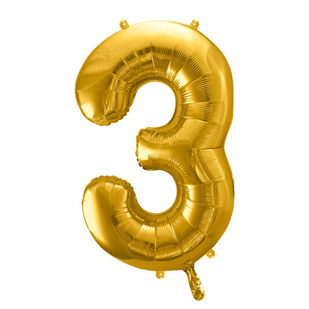 Picture of Party Deco® Party ballon number 3  Gold