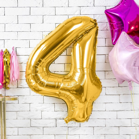 Picture of Party Deco® Party ballon number 4 Gold