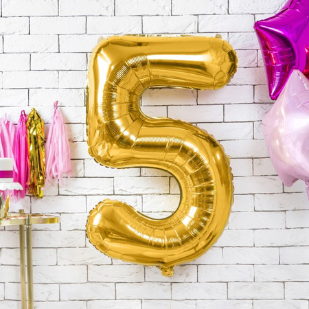 Picture of Party Deco® Party ballon number 5 Gold