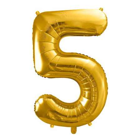Party Deco® Party ballon number 5 Gold