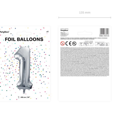 Picture of Party Deco® Ballon number 1 Silver