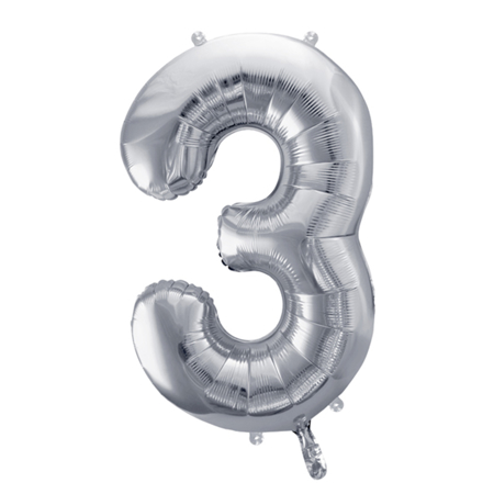 Party Deco® Party ballon number 3  Silver