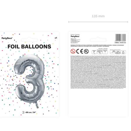 Picture of Party Deco® Party ballon number 3  Silver