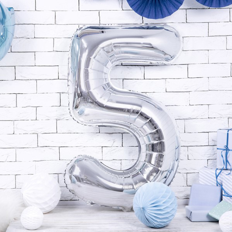 Picture of Party Deco® Party ballon number 5 Silver