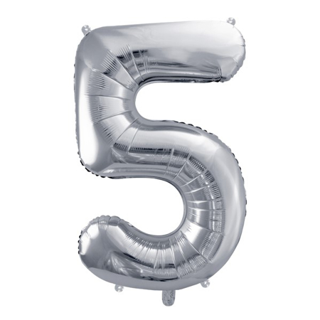 Party Deco® Party ballon number 5 Silver