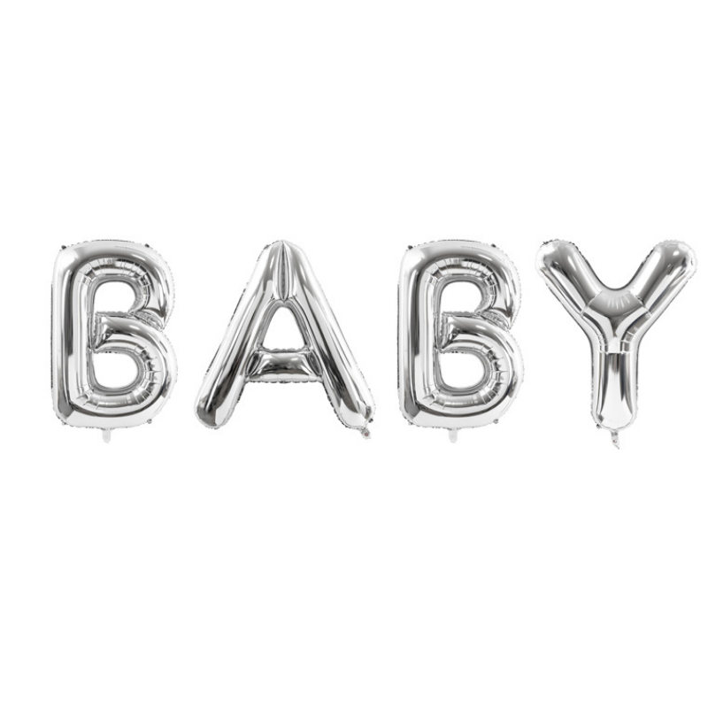 Picture of Party Deco® Party ballon Baby Silver