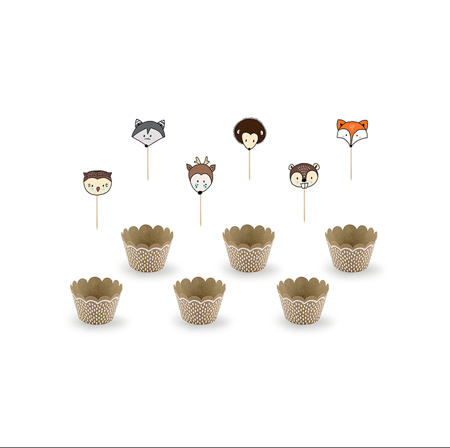 Picture of Party Deco® Cupcake kit  Woodland 6 pc.