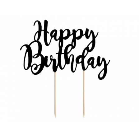 Picture of Party Deco® Cake Topper Happy Birthday Black 22.5 cm