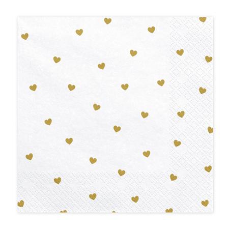 Party Deco® Napkins 3 layers Hearts white 20 pc.