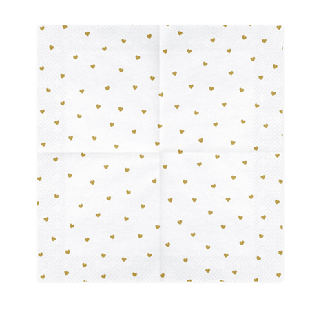 Picture of Party Deco® Napkins 3 layers Hearts white 20 pc.