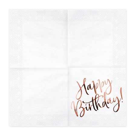 Picture of Party Deco® Napkins 3 layers Happy Birthday White 20 pcs.