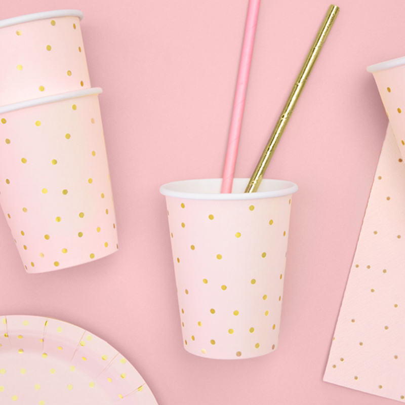 Picture of Party Deco® Cups Polka Dots Light Pink  260ml 6 pc.