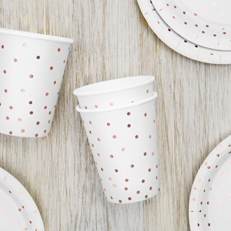 Picture of Party Deco® Cups Polka Dots White 260ml 6 pc.