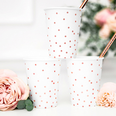Party Deco® Cups Polka Dots White 260ml 6 pc.