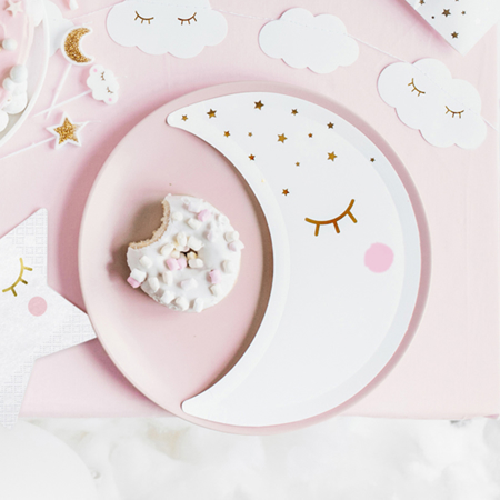 Picture of Party Deco® Plates Little Star-Moon White  6 pc.
