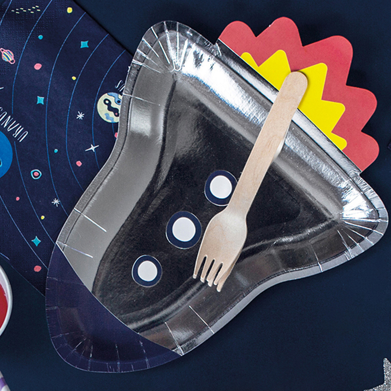 Picture of Party Deco® Paper plates Space  Party - Rocket 6 pc.