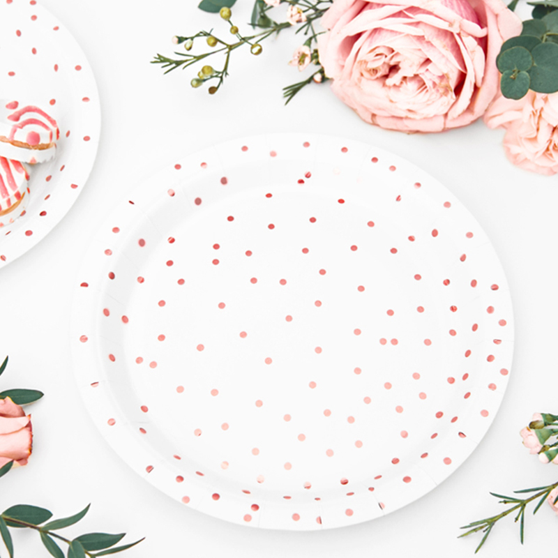 Picture of Party Deco® Plates Polka Dots,  white 6 pc.