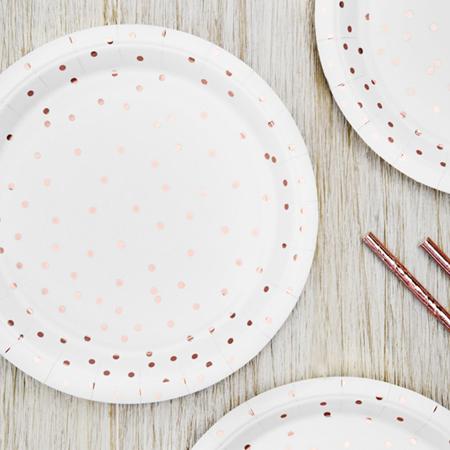 Party Deco® Plates Polka Dots,  white 6 pc.