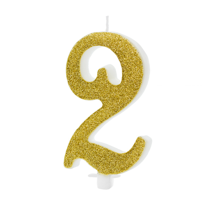 Picture of Party Deco® Birthday Candle Number 2 Gold