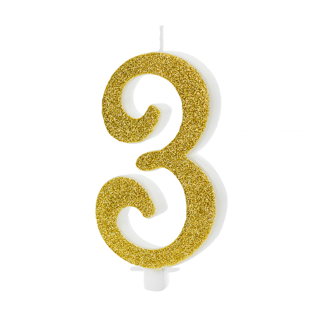 Picture of Party Deco® Birthday Candle Number 3 Gold
