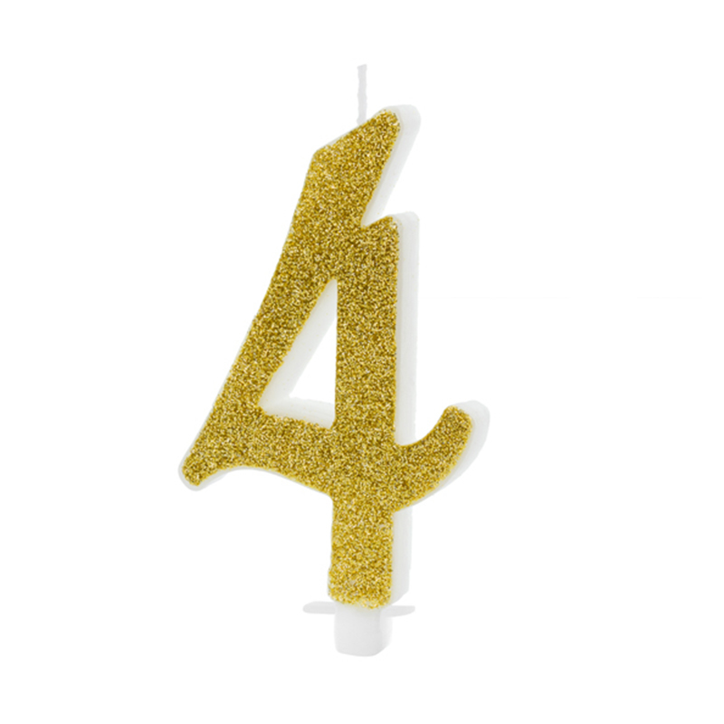 Picture of Party Deco® Birthday Candle Number 4 Gold